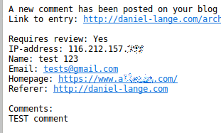 Screenshot of the spammer's test comment
