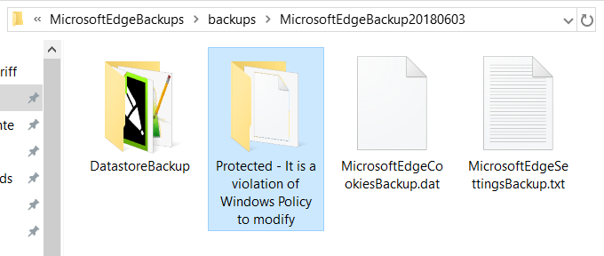 "Windows Edge backup folder ""Protected - It is a violation of Windows Policy to modify"""
