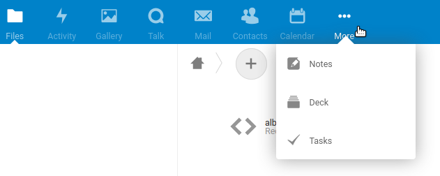 Screenshot of stock Nextcloud menu