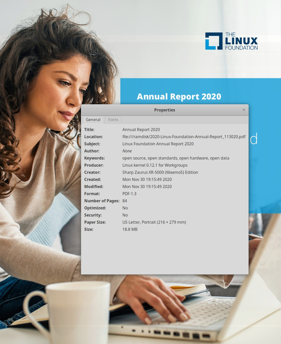 Linux Foundation annual report 2020 cover